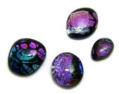 on SALE Blue Pink Silver DICHROIC Fused Glass CAB cabs Cabochon Set for Beading Pmc or Wire wrapping. Add to any craft