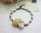 Ivory Rose, White Floral, Pearl Collage Flower Antiqued Brass Adjustable Bracelet. Wedding Bridal Jewelry. Cottage Ivory. Bridesmaids Gift.