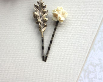 Oak Leaf Hair Pin Ivory Flower and Leaf Hair Bobby Pins, Rustic Leaf Hair Pins Nature Leaf Hair Pin Clip Ivory Hair Accessories Set of Two 2