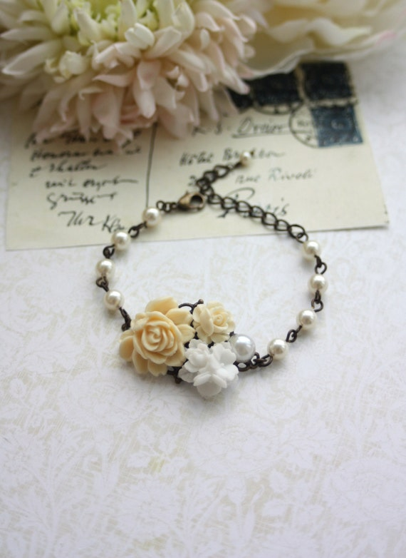 Ivory Rose, White Floral, Pearl Collage Flower Antiqued Brass Adjustable Bracelet. Wedding Bridal Jewelry. Cottage Ivory. Bridesmaids Gift.