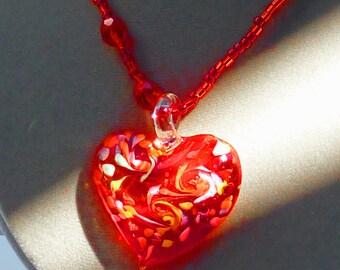 Murano pendant necklace 40mm red-orange heart w/colored swirls, red bead strand