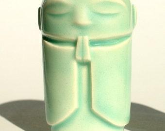 "Jizo - Bright Celadon glaze, 2.5-2.75"" tall Jizo statue"
