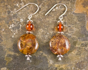 Handcrafted Agate, Amber, and Sterling Silver earrings (E243)