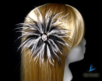 "Black and white hair clip ""Black Sunburst"" black feather white wedding bridal head piece prom hair clip goth headpiece gothic hairpiece"