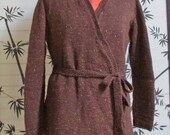 Brown Tweed Sweater, Women Brown Wrap Wool Sweater