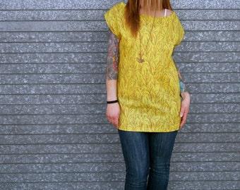 Vintage Yellow Open Back Off the Shoulder Sleeveless Shirt|Cut Out Shirt|Tank Top|Eco Shirt|Cap Sleeve Shirt|Plus Size Shirt|Layering Top