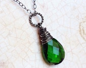 Emerald Green Quartz Necklace on Oxidized Sterling Silver - Verdant by CircesHouse on Etsy - CircesHouse