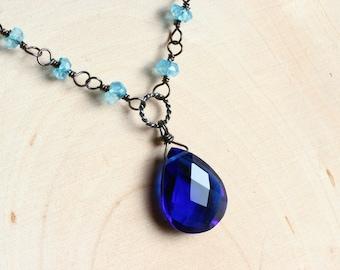 Cobalt Blue Quartz Necklace with Apatite - Sapphira by CircesHouse on Etsy