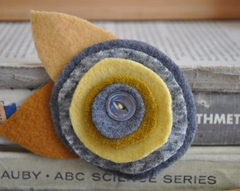 UPcycled Wool Felt Flower Brooch with Vintage Mother of Pearl Button - Yellow and Gray