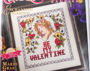 CROSS STITCH SAMPLER magazine, Mardi Gras, harlequin, creole, Louisiana garden, Valentines declaration