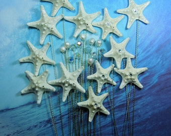 Starfish Crystal Pearl Stems - 24 Starfish, Crystals, and Pearls for a Wedding Bouquet or Centerpiece