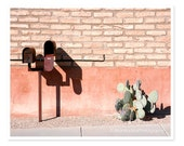 Desert Mailboxes Photograph, southwest photography, fine art, southwestern, wall art, Arizona, Tucson photography, salmon pink brick cactus
