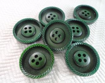 Pine Vintage Buttons - 6 Mid Century Plastic
