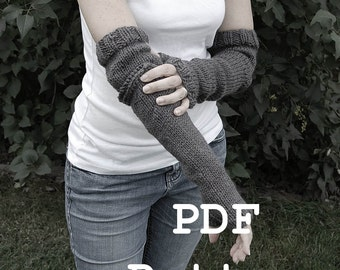 Instant Download PATTERN - Fraser Fingerless Mittens Long Cuff Elbow Slit Knitting simple knitting PATTERN  - PDF