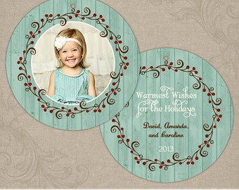 Rustic Wreath Ornament | Photo Christmas Holiday Ornament Card | Elements Photoshop Templates | 5x5 Circle Die Cut Ornament Card