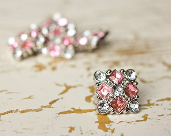 Plastic Rhinestone Buttons - 5 Pink / Clear Square Buttons - Diane Button - 25mm - Plastic Buttons - Acrylic Buttons