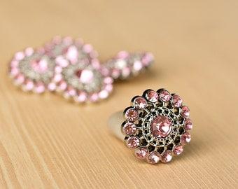 Light Pink  Rhinestone Button - 5 - Acyrlic Rhinestone Buttons - Chloe Button - 26mm - Plastic Buttons - Acrylic Buttons