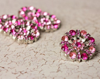 5 Rhinestone Buttons - Hot Pink/Lt. Pink Rhinestone Button - Lisa Button - 32mm - Plastic Buttons - Acrylic Buttons