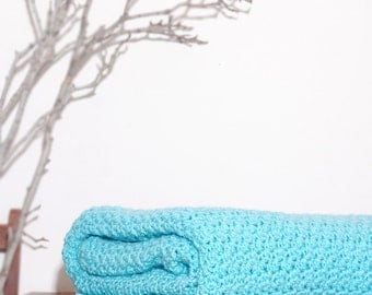 Ready to Ship Beautiful and Luxuriously Handcrafted CROCHET Blanket Throw ARUBA SEA