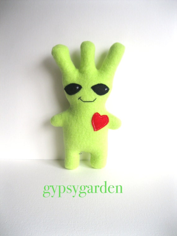 Green stuffed alien plush toy space monster plush gift for child and adult with heart - three antennae