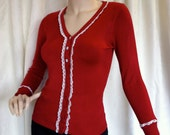 Red cardigan, sweater, Vintage lace,  size Medium womens,  one of a kind, perfect gift for yourself or a unique gift for her,