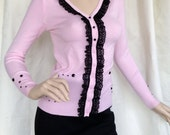 Pink cardigan with black lace trim, black gemstone detail, size Medium, unique gift for her, one of a kind ready to ship sweater