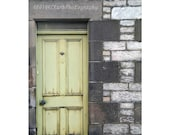 Worn Door 8x12 signed photo 11x14 mat Scotland lime green Shabby chic Cottage stone Home Decorl rustic country pastel
