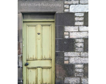 Worn Door Fine Art Photography Scotland lime green Shabby chic Cottage stone Home Decorl rustic country pastel