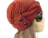 Women  Knit  Hat ,  Cloche Hat ,  Winter Hat , Gift for her   Rust orange Hat Winter Accessories Winter  Fashion Women Fashion Accessories