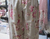 Vintage Kitty... wide leg pants.. floral cotton.roses.. pinks and ecru , lace cuffs with my raggy roses....  med - lge