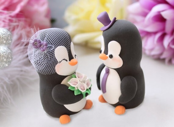 Unique bride groom wedding cake toppers - personalized Penguins - purple pink calla lilies bride groom figurines cute elegant funny gift