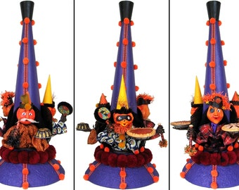 """Mixed Media Sculpture Inspired by Antique German Hallowe'en Folk Art Toys - """"The Grand Party Horn"""""""