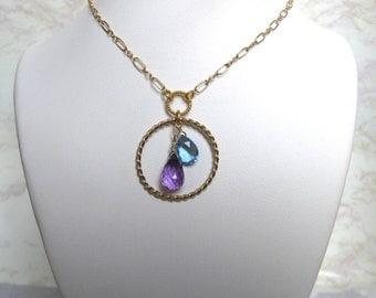Double Ring Necklace- Amethyst, Blue Topaz Quartz, Gold Filled