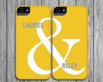 2 Best Friend Phone Cases - Yellow and Gray Ampersand Mix and Match iPhone 8, BFF , Galaxy S8 / , iPhone X Galentine's Day Gift