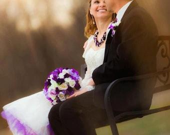 Wedding Flower Package 5 pieces Purple Bridal Bouquets bridesmaid AmoreBride original bouquet designs Ivory Bridal party accessories
