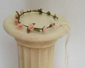 Wedding hair accessories Bridal floral crown victorian pink peach hair wreath headpiece AmoreBride flower girl halo woodland baby headband