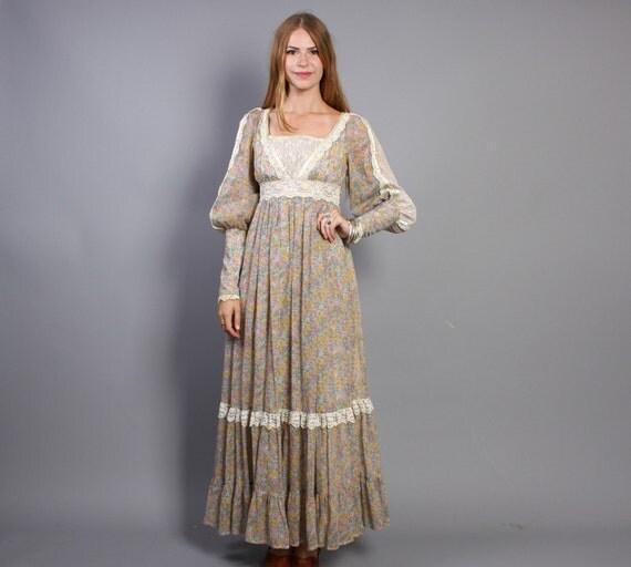 1970s GUNNE SAX / Sheer Floral Lace Trim Renaissance Maxi Dress, xs-s