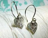HALF PRICE SALE - Little Hearts - silver heart earrings / tiny heart earring / heart earrings / dangle earrings / simple heart earring