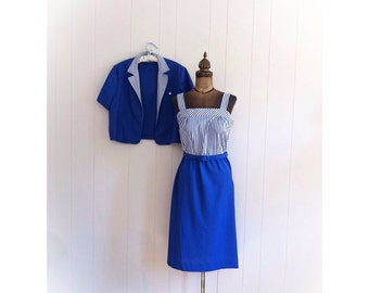 Vintage 1980s Dress Nautical Blue Striped with Belt and Jacket from John's Girl Inc