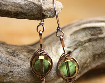 Ancient Portholes - Table Cut Czech Glass Beads and Copper Herringbone Wrapped Earrings