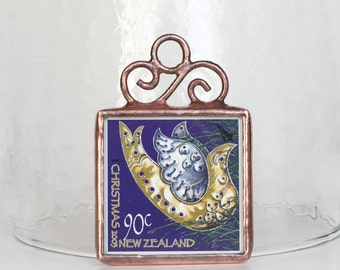 New Zealand Dove Stamp Ornament Postage Stamp Christmas Decoration Stained Glass