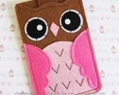 "iPhone sleeve, felt iPhone sleeve, iPhone case, felt iPhone case, iPhone bag, iPhone 5c sleeve, iPhone 5c case, ""brown & pink owl design"""
