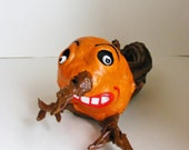 Pumpkin Stem Goblin Halloween Folk Art Doll Weird Odd  OOAK
