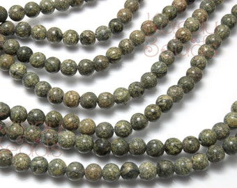 African Jasper (Green Jasper) 6mm OR 4mm Round Beads 15 inch strand