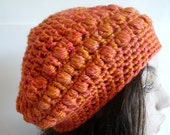 Crochet Coral Orange Slouchy Hat for Adult Women and Teens