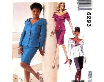 Off Shoulder Top & Slim Skirt Pattern McCalls 6293 Two Piece Dress Princess Seams Womens Sewing Pattern Size 8 10 12