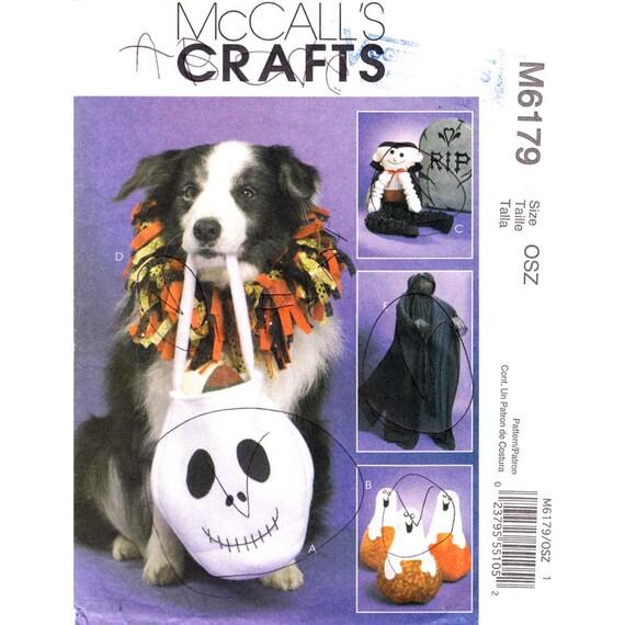 Halloween Pattern McCalls 6179 Treat Bag Pumpkin Pet Collar Vampire Shrouded Greeter