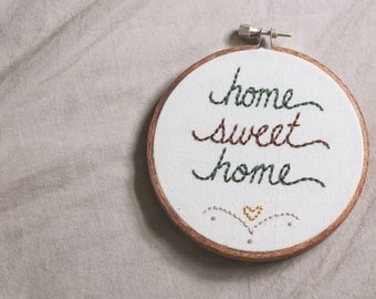 home sweet home, embroidered wall art