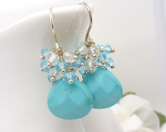 Turquoise earrings in sterling silver, howlite turquoise with aquamarine and blue quartz clusters