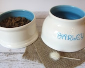 Spaniel Water Bowl - white - personalized